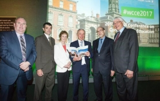 Pictured left at the WCCE in July was Mike Hinchey, IFIP President, Declan Brady, ICS President, Denise Leahy,Trinity College Dublin, Minister Richard Bruton TD, Prof Don Passey, Lancaster University, and Sindre Rosvik, IFIP (Image: ICS)